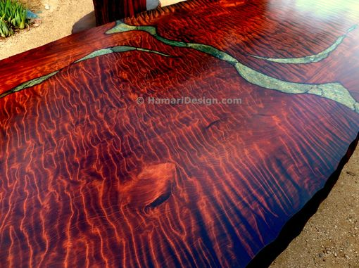 Custom Made Stone Inlaid Redwood Burl Dining Table