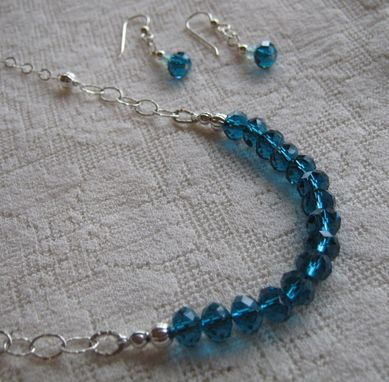 Custom Made Teal Green Crystal And Silver Necklace -Free Shipping