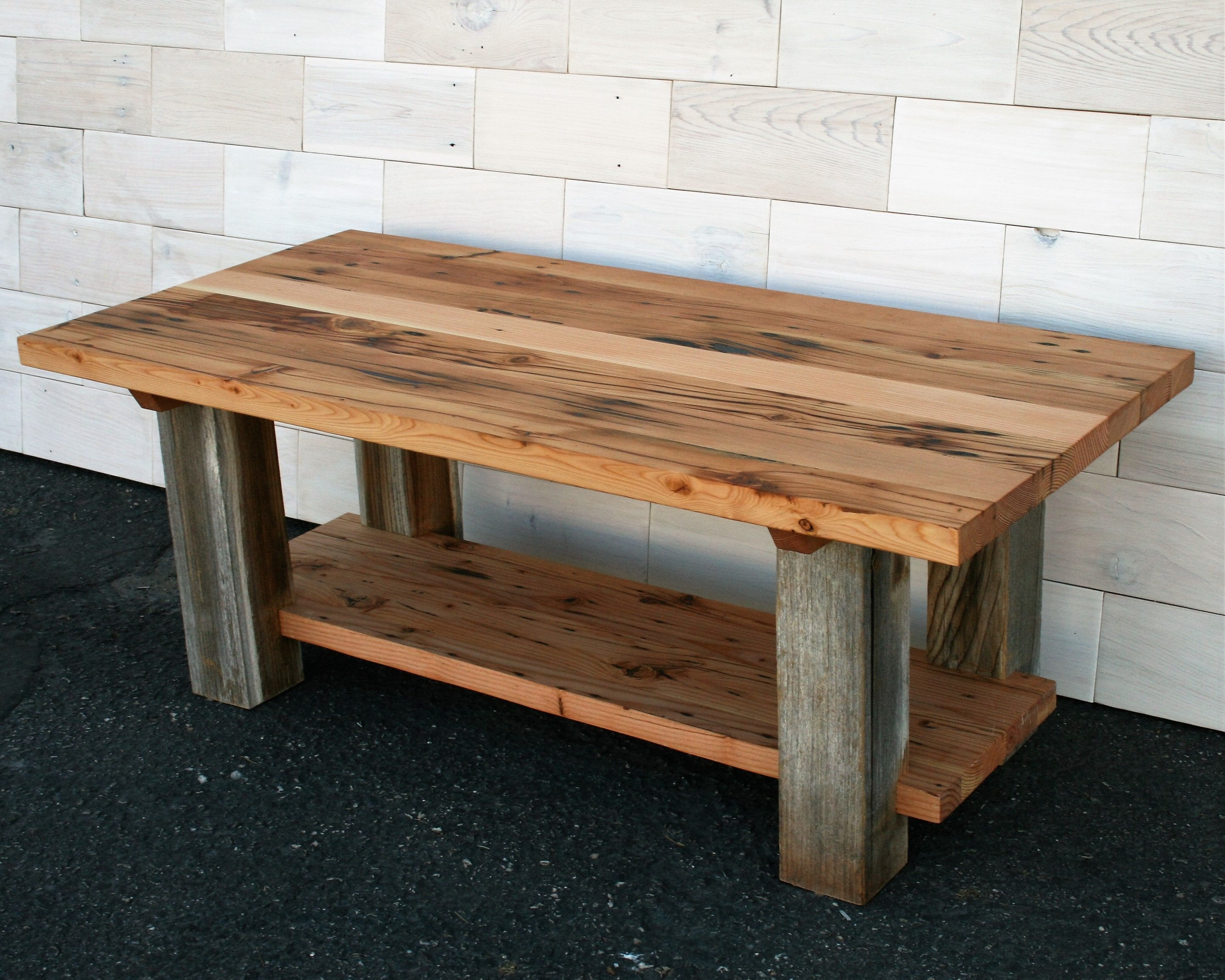 Hand made reclaimed fir and barn wood coffee table by custom made reclaimed fir and barn wood coffee table geotapseo Image collections