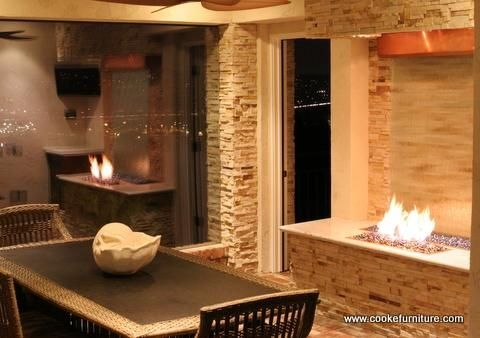 Custom Made Water And Fire Feature