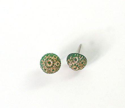 Custom Made Gold And Green Bead Stud Earrings
