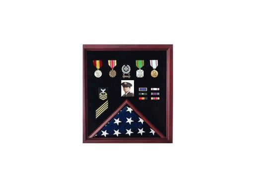 Custom Made Flag And Medal Display Casec