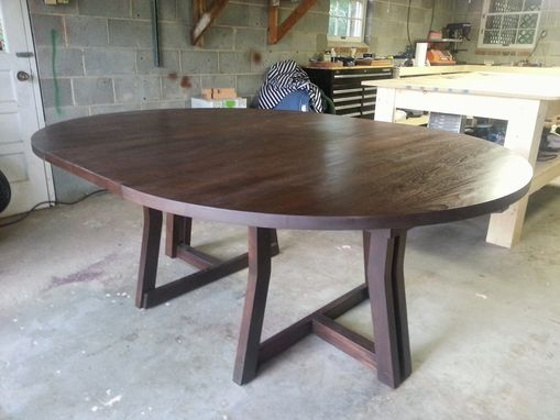 Custom Made Modern Expanding Round Pedestal Dining Table