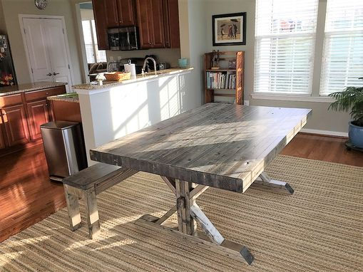 Custom Made Rustic Farmhouse Trestle Thick Butcher Block Style Dining Table