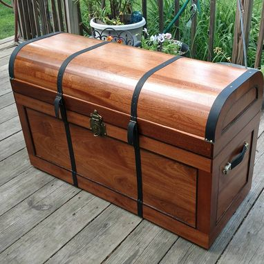 Custom Made Sapele Steamer Trunk With Lid Mounted Drawers And Tray