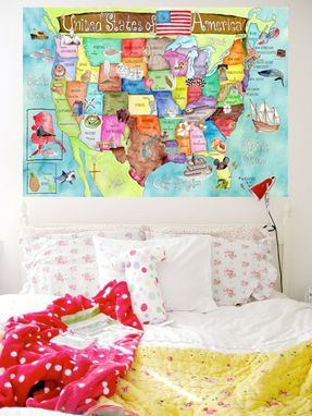Custom Made Children's Illustrated Watercolor Art United States Light Turquoise Map