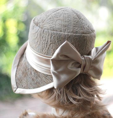 Custom Made Casual To Formal Vintage 1920'S Cloche Hat In A Beige And Taupe