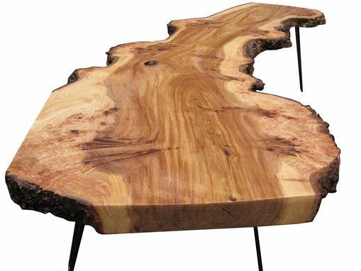 Custom Made Live Edge Elm Coffee Table With Hairpin Legs
