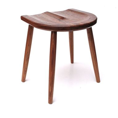 Custom Made Walnut Stool With Sculpted Seat