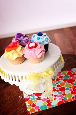 Custom Made Four Multi-Colored Felt Vanilla And Chocolate Cupcakes