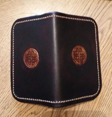 Custom Made Cordovan Leather Card Wallet With Embossed Celtic Knot
