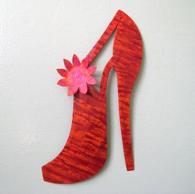 Custom Made Handmade Upcycled Metal Red Shoe Garden Stake
