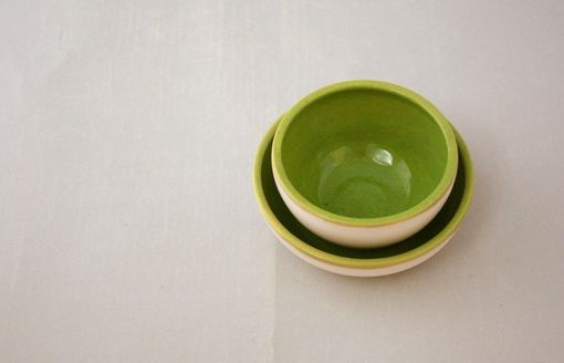 Custom Made Small Stoneware Nesting Bowls In Farmhouse White And Apple Green