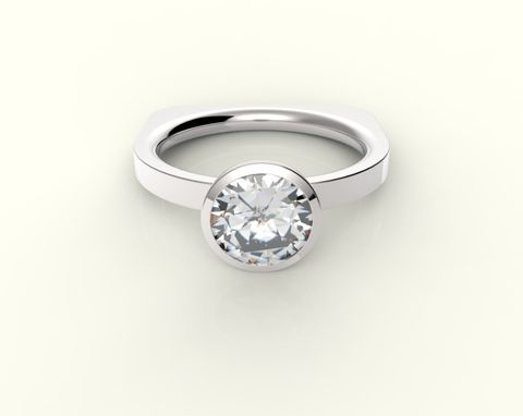 Custom Made Diamond Solitaire  Engagement Or Wedding Ring