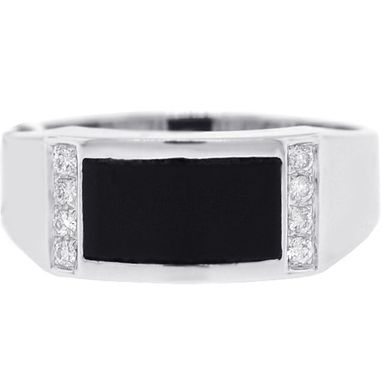 Custom Made 18k White Gold 0.12 Ct Diamond Black Onyx Mens Ring