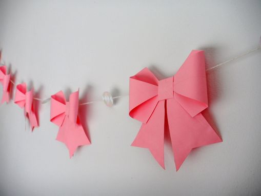 Custom Made 10 Ft Pink Paper Origami Bows Garland