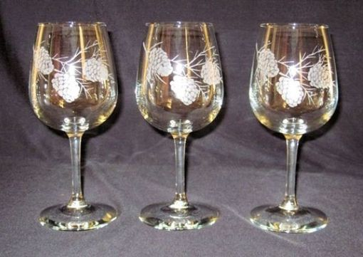 Hand Crafted Decorative Pine Cone Wine Glass By Wesley Renee Glass Design C