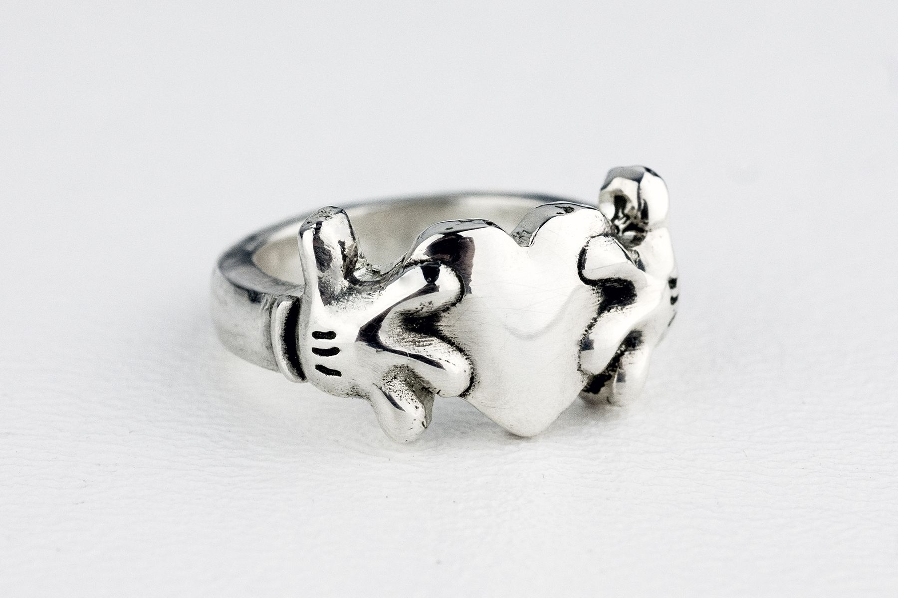 custom made mickey mouse heart claddagh inspired ring - Mickey Mouse Wedding Ring