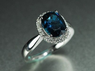 Custom Made 2 Carat Blue Tourmaline Engagement Ring With Diamonds 14k White Gold
