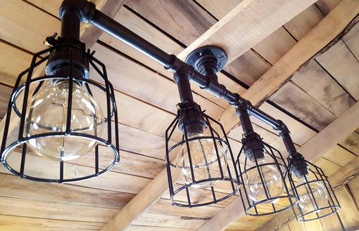 Custom Made Rustic Industrial Chandelier- Black Pipe With Cages- Modern Industrial Chandelier- Free Shipping!