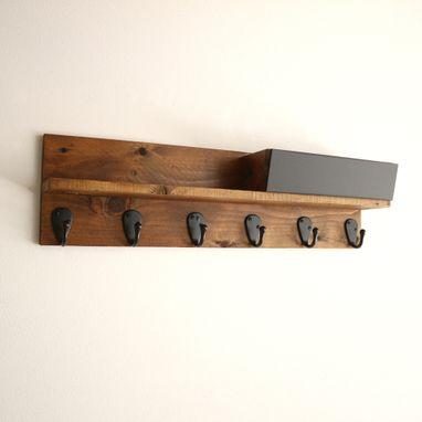 reclaimed wood mug rack urban rustic. Custom Made Rustic Wall Mounted Coffee Mug Rack With Shelf, Cup Reclaimed Wood Urban W