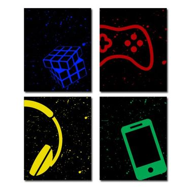 Custom Made Electronics And Game Canvas Art Wall Decoration Set Of 4