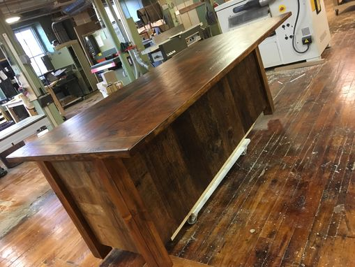 Custom Made Reclaimed Kitchen Island With Open Shelving And Wood Top