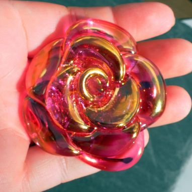 Custom Made Large Transparent Pink Glass Rose And Stainless Steel Bottle Stopper