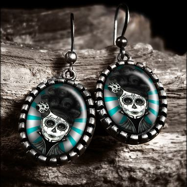 Custom Made Dia De Los Muertos Girl Green Antique Silver Earrings 72-Soe