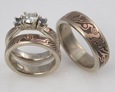 Custom Made 18k Rose Gold And Shakudo Mokume Gane Three Ring Wedding Set