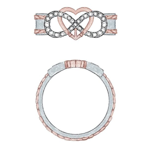Design sketch for a ring with a heart and infinity symbol intertwined.