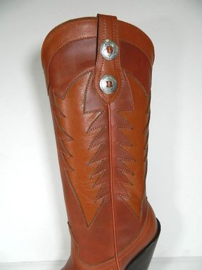 Custom Made Cowboy Boots Saddle Tan Inlayed Decorative Design 17¨Tall 2 Concho Straps Men Or Woman Sizes