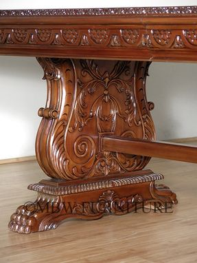 Custom Made 12ft Wide Solid Mahogany Gothic Pedestal Banquet Dining Table