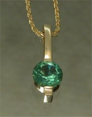 Custom Made 14kt Yellow Gold With Green Tourmaline Pendant