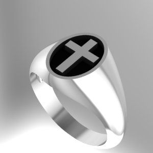 Custom Made Oval Cross Signet Crest Ring With Black Inlay Sterling Silver