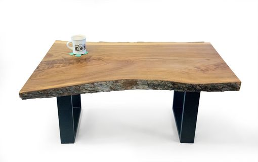 Custom Live Edge Elm Coffee Table With Metal Hand Forged