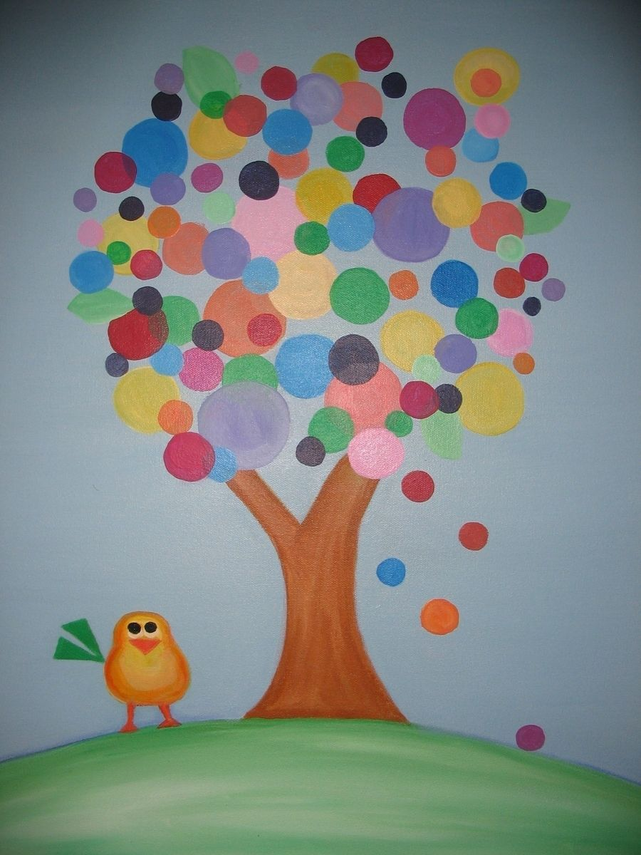 custom made original acrylic painting for childrens room bubble tree - Painting For Childrens