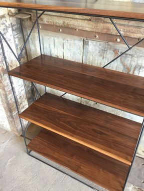 Custom Made Modern Black Steel Bookcase With Solid Walnut Shelves