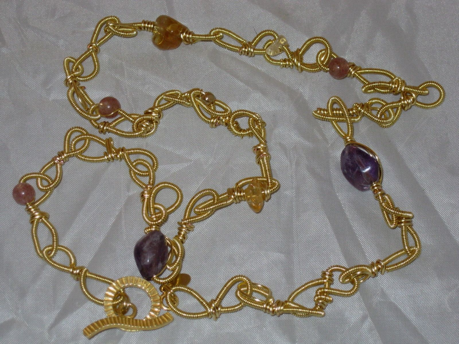 Custom Wire Wrapped Chain Link Style Necklace W/Amethyst Nugget ...