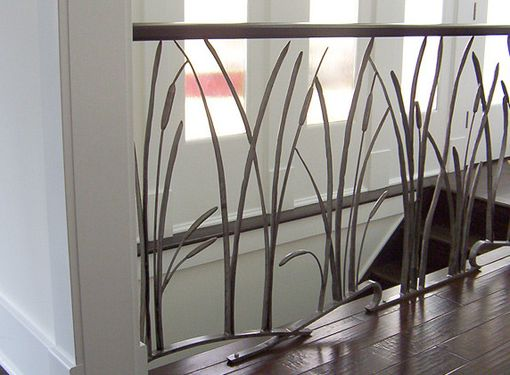 Custom Made Cat Tail And Willow Interior Wrought Iron Railing