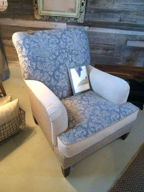 Custom Made Blue Damask Club Chair
