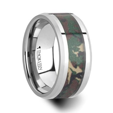 Custom Made Commando Tungsten Wedding Ring With Military Style Jungle Camouflage Inlay - 10mm