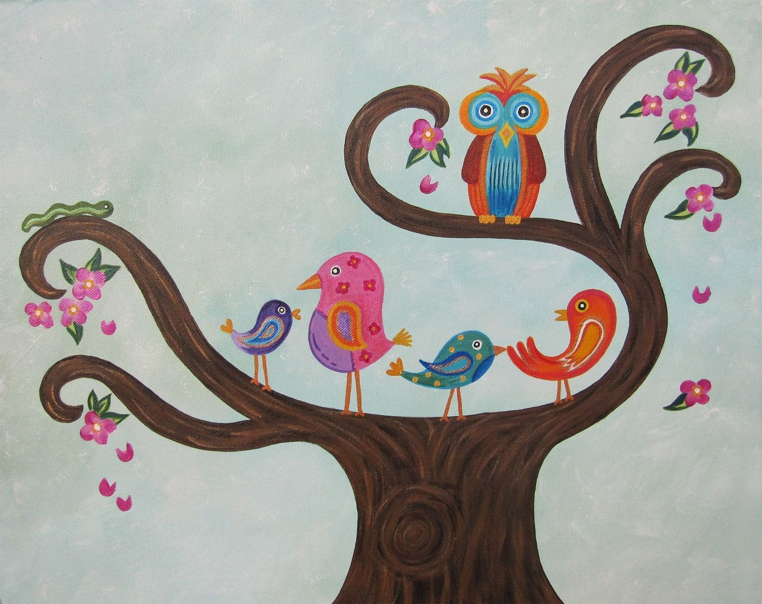 Custom Made Owl Birds Personalized Nursery Art Kids Wall Painting