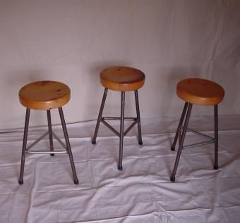 Custom Made Metal And Wood Stool