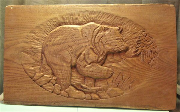 Buy custom made black bear relief carving in sassafras