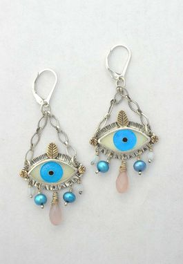 Custom Made Cloisonne Enamel Eye Earrings, Statement Evil Eye Earrings