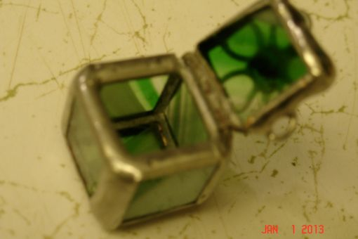 Custom Made Micro Mini Stained Glass Hindged Box In Green 1/2 X 1/2 Glass Squares