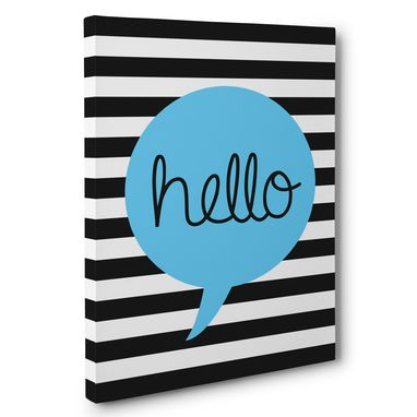 Custom Made Hello Stripes And Bubble Canvas Wall Art
