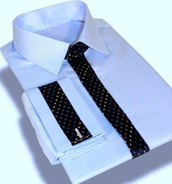 Handmade Mens Luxury Dress Shirt Set With Unique Silk Tie Trim By Faetell Fashions Custommade Com