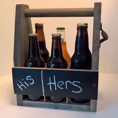 Custom Made Rustic 6-Pack Caddy With Bottle Opener